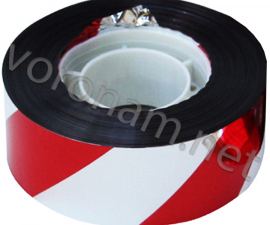 Лента светоотражающая красно-белая 2,5 см х 47 м